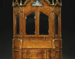 44. an italianwalnut,burr walnutand parcel-giltbureau cabinet, venetian mid 18th century