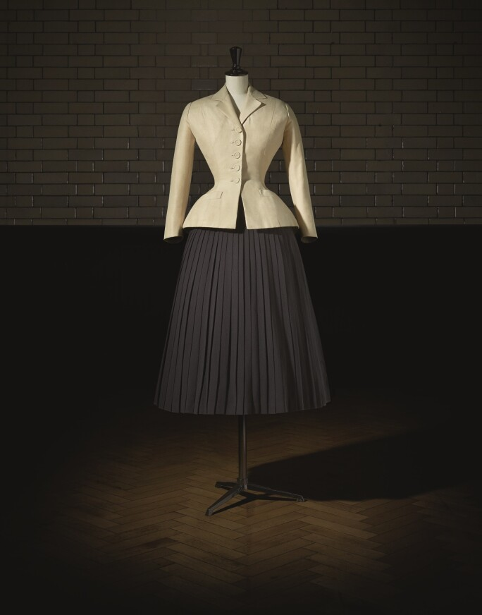 Christian Dior (1905–57), Bar Suit, Haute Couture, SpringSummer 1947, Corolle Line. Photo (c) Laziz Hamani. Victoria and Albert Museum, London.jpg