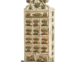 259. unusual carved, painted and gilded tramp art apothecary/spice box, american, circa 1930