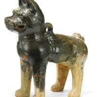 38. a green-glazed pottery figure of a dog han dynasty