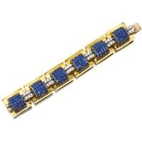 1613. k黃金配藍寶石及鑽石手鏈