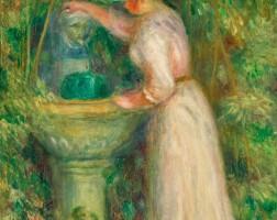 118. pierre-auguste renoir | la fontaine or jeune fille près d'une fontaine