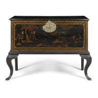 3. a queen anne black japanned chest on stand circa 1710