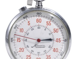 9. minerva   a stainless steel stopwatch with registerscase 217440 circa 1970