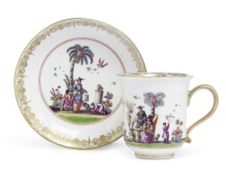 8. a meissen coffee cup and saucer circa 1735-40