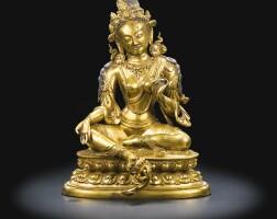 42. a gilt-bronze figure of green tara china, 17th century