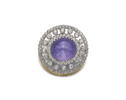 6. star sapphire and diamond brooch/pendant