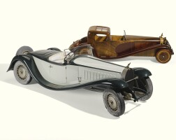 8. a painted aluminium and leather-upholstered model of a type 57 bugatti, by marc antonietti of henri bossat, number 677 circa 1970