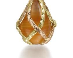 306. a gold-mounted hardstone egg pendant, st petersburg, 1899-1904