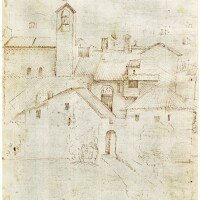 312. pseudo pacchia (active c.1530) | recto: view of houses and a church with a campanile;verso: a group of clerics and monks singing in front of a lectern