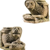 201. northern italian, emilia, probably early 13th centurypair ofstylobate lions,  