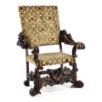 38. an italian carved walnut armchair in baroque style, circa 1900