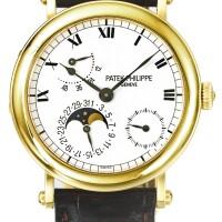 41. 百達翡麗(patek philippe) | 5054型號「nautilus」黃金自動上鏈腕錶備日期、月相及動力儲存顯示,2001年製。