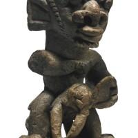28. sapi stone figure of a man riding an elephant (nomoli), liberia or sierra leone