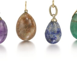 318. a group of six hardstone egg pendants, late 19th and early 20th centuries