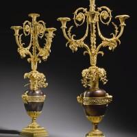 24. 路易十六銅鎏金及銅包漿四燈燭台一對 約1780-85年,傳由弗朗索瓦·雷蒙製造,供應商應為多米尼克·達蓋爾 |