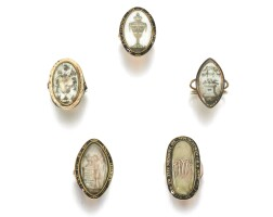 11. collection of five mourning rings, late 18th century and later