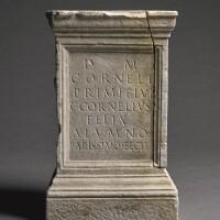47. a roman marble funerary altar inscribed for cornelius primitivus, 1st/2nd century a.d.   a roman marble funerary altar inscribed for cornelius primitivus