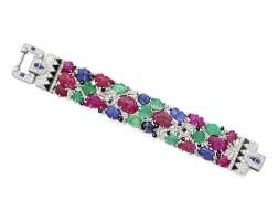 149. colored stone, diamond and enamel bracelet