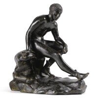 6. after the antique, italian, rome,circa 1800 mercury sitting on a rock, |