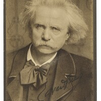 185. grieg, edvard. fine cabinet photograph signed in black ink