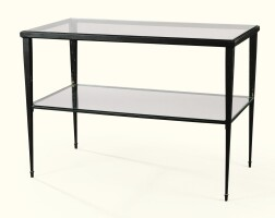 10. modernconsole table in painted bronze and glass  