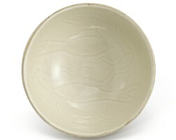 308. a small carved dingyao 'fish' bowl northern song dynasty  
