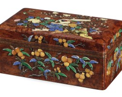 3503. an exceptional hardstone-inlaid birchwood box and coverlate ming dynasty |