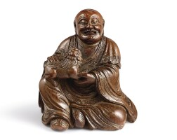 3510. a finely carved bamboo figure of a luohan17th century  