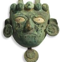 4. moche copper mask early/middle intermediate, ca. 300 b.c.-a.d. 300