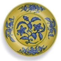 12. a fine yellow-ground blue and white 'gardenia' dishmark and period of zhengde  