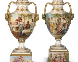 245. a pair of vienna-style vases on stands and covers late 19th century