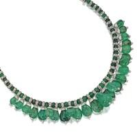 233. platinum, emerald bead and diamond necklace