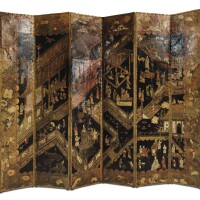 13. a dutch six leaves painted leather folding screen, early 18th century |