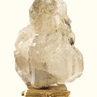 6. a gilt-bronze mounted white quartz block, the base louis xv style  