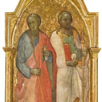 101. florentine school, mid 14th century | a kneeling donor before two standing saints, the angelof the annunciation above