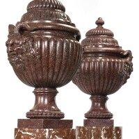 727. a rare pair of louis xv carved porphyry lidded vases circa 1760