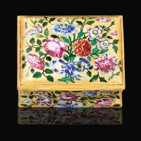 50. a gold and enamel snuff box, attributed to johan henrik brondlund, copenhagen, but possibly retailed by james bellis, london, circa 1765 |