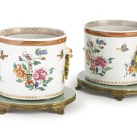 3. a pair of chinese export porcelain famille rose jardinières and mounted ormolu stands the porcelain circa 1740