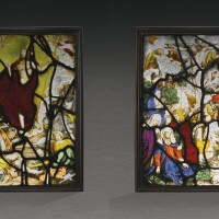 14. after albrecht dürer (1471–1528)german or netherlandish, late 16th century | pair of panels with the crucifixion and the resurrection