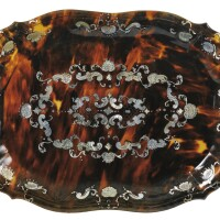 12. italian, naples, 18th centurya tortoiseshell, mother of pearl and silver piqué small tray, |