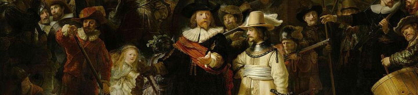A 17th-century Dutch militia is pictured with guns, instruments, a standard with raised and more.