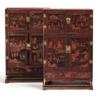 11. rare paire de petits cabinets kang en laque rougesculptée dynastie qing, époque qianlong |