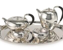 5. a danish silvertea andcoffee set with matching two-handled tray, no. 787, georg jensen silversmithy, copenhagen, 20th century