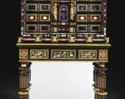 4. anitalian pietre dure mountedpewter inlaidrosewood and ebony cabinet, roman, mid 17th century,on ageorge iv gilt-bronze-mountedgonçalo alvesstandby morel and hughes,circa 1823, mounted with 17th century florentine pietre dure plaques from thegrand ducal workshops