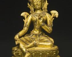 710. a gilt-bronze figure depicting shyamatara tibet, 14th century