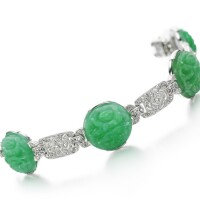 25. jadeite and diamond bracelet, circa 1925