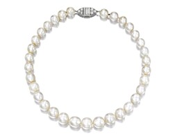 1870. rareandfine natural pearl and diamond necklace, one cultured