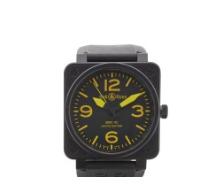 3. bell & ross | military spec ref br01a black coatedstainless steel square form automatic center seconds wristwatch circa 2009
