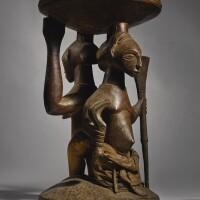 112. hemba double caryatid stool, sola region, democratic republic of the congo